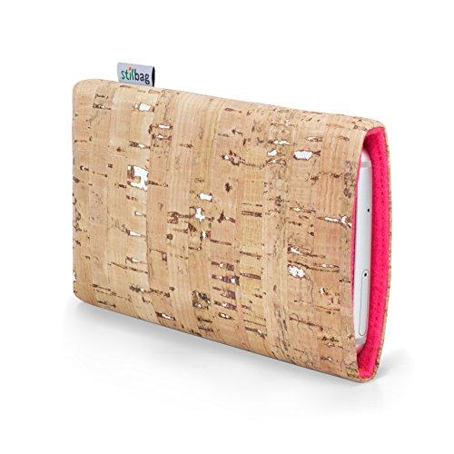 stilbag Funda para teléfono móvil Vigo para Huawei Y6 II Compact | Bolsa para Celular Smartphone Made in Germany | Natural con Corcho Plateado, Fieltro de Lana de salmón
