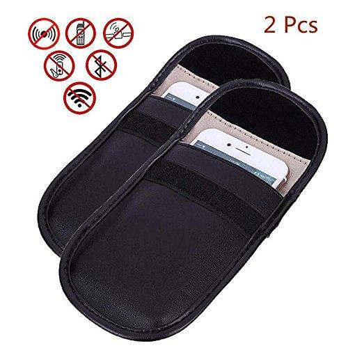Pack de 2 fundas antirrastreo para bloqueo de señal GPS Rfid, bolsa para teléfono móvil, protección de la privacidad y del mando a distancia de la llave de coche, color negro
