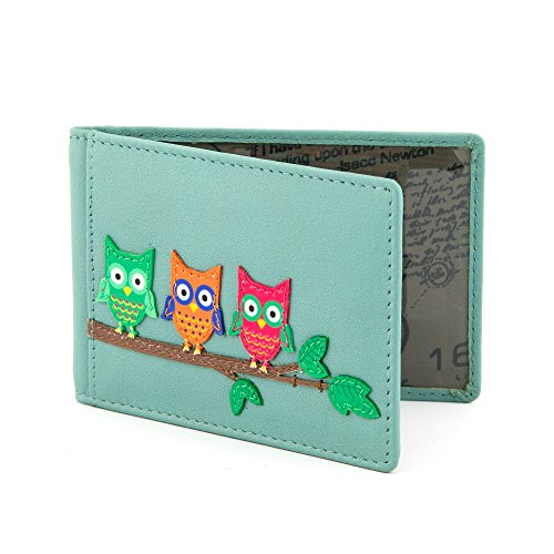 Owl Applique Leather Oyster Card / Travel Pass Holder by Yoshi (Blue)