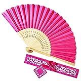 Lazzboy Hand Folding Silk Ventaglio Maniglia Openwork Bamboo Solid Oriental Dance Matrimonio Sposa Costume Party Decorazioni Regalo in Scatola(Fucsia,21cm)