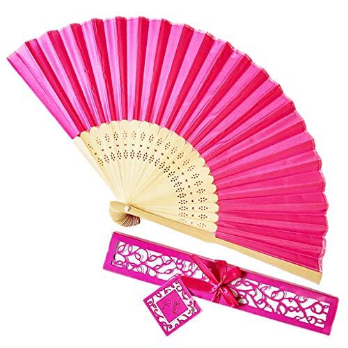 Andouy Retro Faltfächer/Handfächer/Papierfächer/Federfächer/Sandelholz Fan/Bambusfächer für Hochzeit, Party, Tanzen(21cm.Pink-B) -
