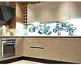 Küchenrückwand Folie selbstklebend EISWÜRFEL 260 x 60 cm | Klebefolie - Dekofolie - Spritzchutz für Küche | PREMIUM QUALITÄT