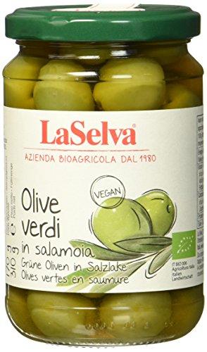 La Selva Bio Olive verdi, grüne Oliven mit Stein in Salzlake, 310 g