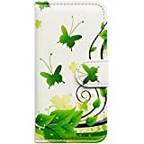 Casea Packing Green Butterfly Card Slot Wallet Leather Cover Case for Apple iPhone 5C