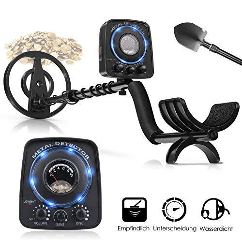 Metalldetektor, amzdeal Professionell Metallsuchgerät mit Hohe Empfindlichkeit incl. Wasserdichter Suchspule + Multifunktionsklappschaufel + Kopfhörer-Unterstützung