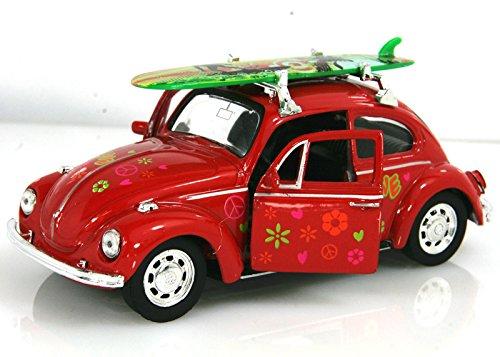 Maggiolino surf fiori rosso 1:38 modellino metallo c/molla richiamo cm 12x4,5x5,5 per bambini