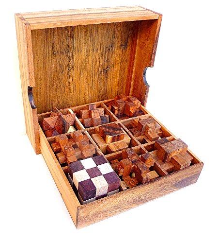 Logica giochi set legno 9 in 1 - rompicapo 3d in legno prezioso - tutte le difficoltà - scatola in legno con coperchio - serie leonardo da vinci