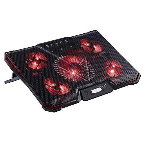 YUN Cooling Fan@ Notebook Laptop Kühler Für 12-17.3 Zoll Oder Grössere Notebook/Laptop, 5 Lüfter Belüfteter Notebookständer Kühlmatte, 2 USB Ports,Model: B4