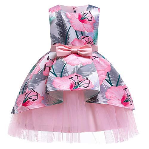 Lazzboy Blumenbaby-Prinzessin Bridesmaid Pageant Gown Birthday Party Wedding Dress Prinzessin Blumenmaedchen Kleid Festliche Kinderkleider(Rosa,Höhe150)