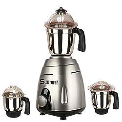 Sunmeet Metallic Grey Color 550Watts Mixer Juicer Grinder with 3 Jar (1 Large Jar, 1 Medium Jar and 1 Chuntey Jar)