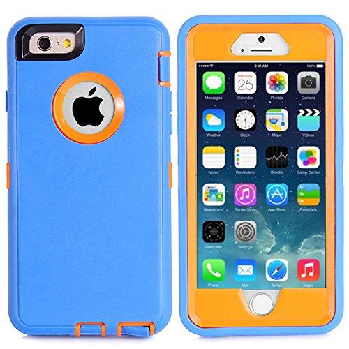 """MOONCASE iPhone 6S Coque, Realtree Camo Housse Hybride Etui Protection de Couche 3 d'Armure Lourde Rigide Anti chocs Absorption des Chocs Case avec Béquille pour Apple iPhone 6 6S 4.7"""" -Noir Grass Bleu Orange"""