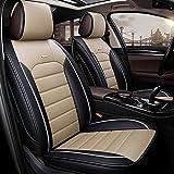 DaFei Autositzbezüge, 5-Sitzer-Komplettsatz Universal-kompatible Airbags vorne und hinten atmungsaktiv hochwertiges Leder Comfort Protector Cushion (Farbe : Beige)