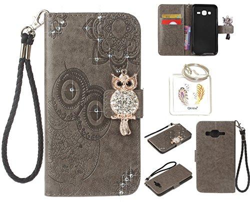 Preisvergleich Produktbild für Samsung Galaxy J3 (2016 Edition) PU Diamant Strass Niedlich Eule Leder Silikon Schutzhülle Handy case Book Style Portemonnaie Design für Samsung Galaxy J3 (2016 Edition) + Schlüsselanhänger ( 0P (6)