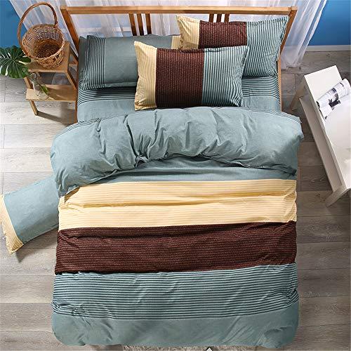 ZESHIZE Schlichter, gestreifter Bettbezug im nordischen Stil mit Reißverschluss, weiches und bequemes Mikrofaser-Bettwäscheset (Grün, 200 x 200 cm) -
