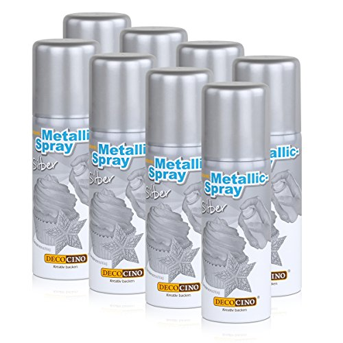 Dekoback Decocino Essbares Metallic-Spray Silber 50ml - Kreativ backen (8er Pack)