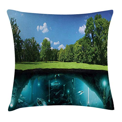 Decor Throw Pillow Cushion Cover, Earth Invasion Surface Fantasy Science Fiction Scenery in National Park, Decorative Square Accent Pillow Case, 18 X 18 inches, Green Blue ()