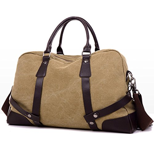 Weekender Bag Reisetasche TEAMEN Sporttasche Handtasche Canvas PU Leder Tasche Umhängetasche Schultertasche Henkeltasche 20L für Einkaufen Reisen Arbeit und Schule (Hellbraun) Hellbraun