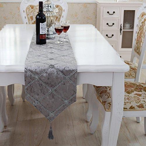 Luxus Samt Gitter Grau Tischläufer mit Wandteppich 250 - Samt Gitter