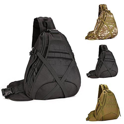Wotow Borsa a tracolla, tattica, stile militare, per caccia campeggio, equitazione, trekking, viaggiare, Black - nero