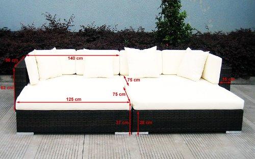 Baidani Gartenmöbel-Sets 10d00001.00002 Designer Rattan Lounge Paradise, 2 Sofas, Sitzauflage, Kissen, braun - 5
