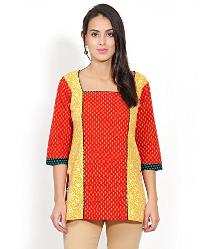 Yepme Kelly Printed Kurti - Red & Yellow - YPMKURT0283_L  available at amazon for Rs.199