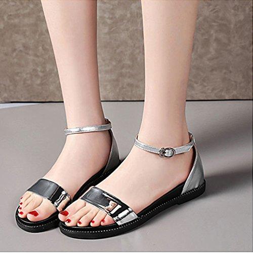 Sommer Sandalen Flache Sandalen Bequem Offene Mode Schuhe Silber