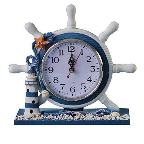 magideal Maritim Anker Boot Lenkrad Zeit Uhr Tisch Decor Leuchtturm, Lighthouse