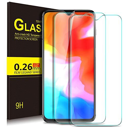KUGI OnePlus 6T Schutzfolie, 9H Panzerglas Hartglas Glas Display Schutzfolie [Blasenfrei] [HD Ultra] [Anti-Kratzer] Displayschutzfolie Displayschutz Für OnePlus 6T Smartphone. Klar [2 Pack] (Lünette Dollar-münze)