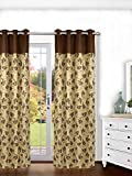 Ariana Linex Flower Brown Eyelet Door Curtain