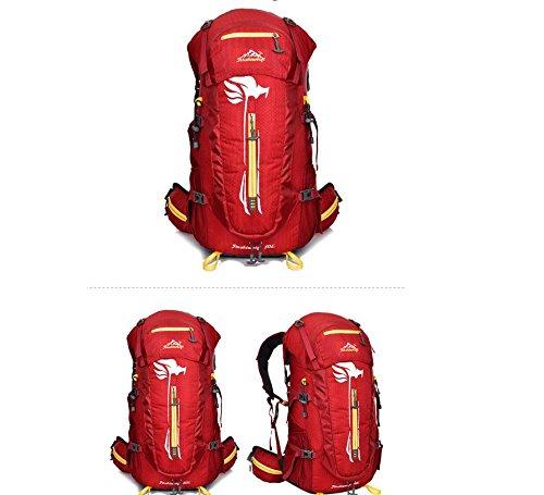 ROBAG Nylon impermeabile strisce femminile borsa viaggi outdoor zaino da viaggio grande ciclismo Borse impermeabili per gli uomini e le donne 50L , orange red