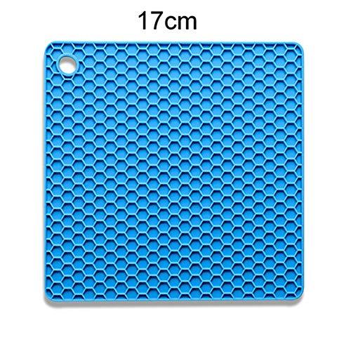 Blue Square Vasen (QQLCK Untersetzer Balleenshiny Silikon Rutschfeste hitzebeständige Matte Coaster Cushion Tischset Topflappen Multifunktioneller Tischsetischgeschirr, Square Blue)