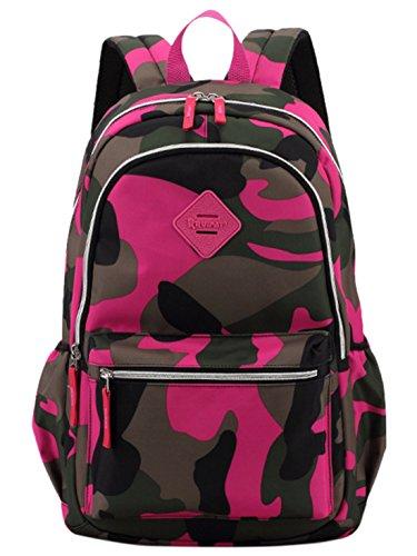 Happy Cherry Schulrucksack Tarnung-farbe Schulranzen Schultasche Sports Rucksack Freizeitrucksack Daypacks Backpack für Mädchen Jungen Kinder Damen Herren Jugendliche-Grün Pink 1