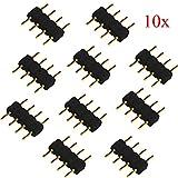RotSale® 10x Schwarz 4 Pin Pol Stecker Kupplung Adapter für 5050 LED Steckbrücke RGB Strip Verbinder Stecker-Stecker 4 polig