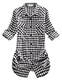 Match Damen Langarmhemd Flanell Karierte Bluse Plaid Shirt #B003(2021 Checks#12,Medium(Fit 35''-37''))