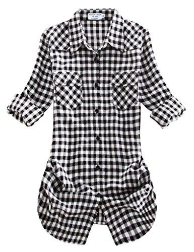 Match Damen Langarmhemd Flanell Karierte Bluse Plaid Shirt #B003(2021 Checks#12,X-Large(Fit 40''-42'')) (Plaid Shirt Weiß Cotton)