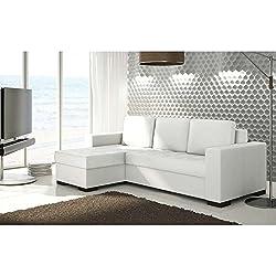 JUSThome Newark Sofá esquinero chaise longue función de cama Sofá-cama Piel sintética Tamaño: 90x237x150 cm Blanco Brazo izquierdo