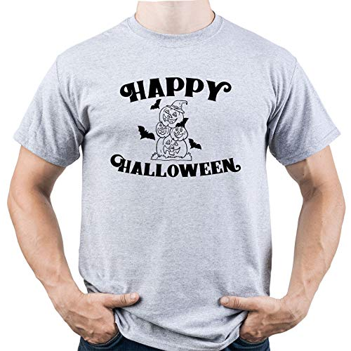 EUGINE DREAM Happy Halloween Hocus Pocus Herren T-Shirt Grau XXL (Pocus Hocus Halloween Happy)