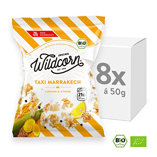Wildcorn - salziges Popcorn - Curcuma Zitrone (8x50g) | gesunder Snack | leckere Alternative zu Chips | Superfood für Büro, Unterwegs, Kino | vegan | 100% Bio | ohne Zuckerzusatz | glutenfrei | Healthy Food | Taxi Marrakech (Sport-nacht-komplette Serie)