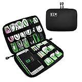 Defway Eletronik Zubehör Organisator Tasche Elektronik Organizer für USB Sticks, Kabel, Speicherkarte, Ladegerät (Schwarz)