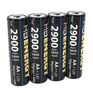 HEITECH AA Akku Mignon Typ 2900 1,2V NiMH – 4× Wiederaufladbare Batterien mit geringer Selbstentladung – Akkus für Geräte mit hohem Stromverbrauch
