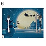 WFZ17 Weihnachtstischsets, hitzebeständige Tischsets, Rutschfest, waschbar, Leinen Tischsets, 6#, Einheitsgröße