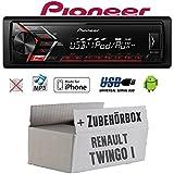 Renault Twingo 1 - Autoradio Radio Pioneer MVH-S100UI -   MP3   USB   Android   iPhone Einbauzubehör - Einbauset