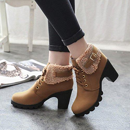 Stivali Donna Invernali, BeautyTop Autunno alti con tacco Stivaletti Boots Scarpe da donna Martin High Heels Marrone