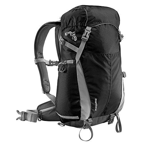 Mantona Elements Outdoor Rucksack (inkl. Regenschutzhülle, Laptop/Tabletfach, herausnehmbarer Kameratasche mit Tragegurt, geeignet für DSLR, Systemkamera, zwei Objektive und Kleinzubehör) schwarz -