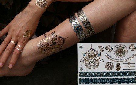 Mandala élégant Tatouages Temporaires Métalliques tatouages flash bijoux de peau Or Argent Bleu yh116