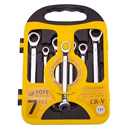 Asvert Werkzeugkoffer Set von 7 Ratcheting Schraubenschlüssel Tragbare 8mm-19mm Mixed Plate Schraubenschlüssel mit Tragetasche