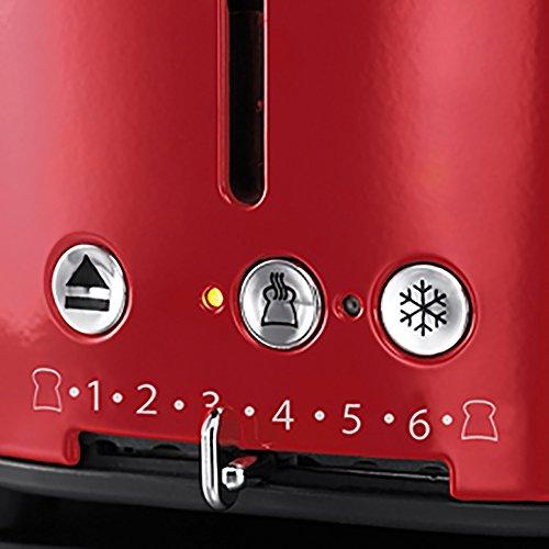 Russell Hobbs 21680-56 Retro Ribbon Red Toaster mit stylischer Countdown-Anzeige, Schnell-Toast-Technologie, 1300 W, rot - 4