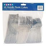 Party - Cubiertos de plástico metalizado - 48 piezas