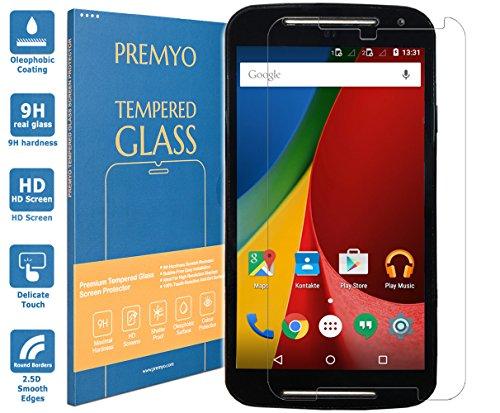 PREMYO Panzerglas Schutzglas Bildschirmschutzfolie Folie kompatibel für Motorola Moto G 2 2014 Blasenfrei HD-Klar 9H 2,5D Gegen Kratzer Fingerabdrücke