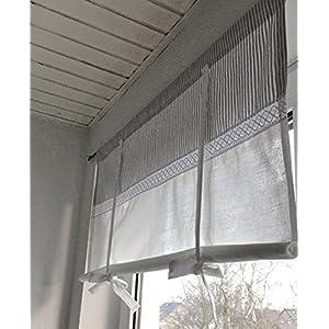 Raffrollo Gardine Spitze gestreift grau/weiß